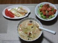 11/8 夕食 鮭のチーズ焼き、野菜と鶏むね肉とくずし豆腐の味噌ミルクスープ、スモークサーモンとアボカドのサラダ