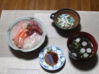 11/11 夕食 海鮮丼、ほうれん草の白和え、吸い物