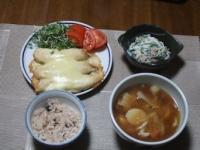 11/12 夕食 ささみのチーズ焼き、ほうれん草とちくわの白和え、豚汁、雑穀ご飯