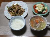 11/14 夕食 豚肉とキノコのオイスター炒め、ブロッコリーのサラダ、豚肉と野菜のスープ、ご飯