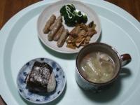 11/15 昼食 魚とごぼうのスティックカイワ、豚汁、おにぎり(鮭)
