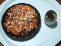 11/17 昼食 キムチとイカのチヂミ、緑茶