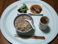 11/18 昼食 さんまの缶詰、ブロッコリー、きのこおじや