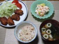 11/22 夕食 鶏の甘酢唐揚げ、れんこんサラダ、ちくわとわかめのスープ、雑穀ご飯