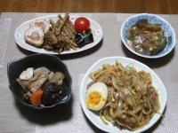 1/5 夕食 焼うどん、お節料理皿盛り、筑前煮、刺身こんにゃく、