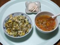 1/22 昼食 高菜チャーハン、サラダチキン、ファイトケミカルスープ