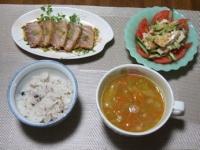 1/22 夕食 まぐろのたたき、棒棒鶏サラダ、ファイトケミカルスープ、雑穀ご飯