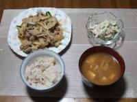 1/23 夕食 肉野菜炒め、れんこんサラダ、ファイトケミカルスープ、雑穀ご飯