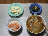 1/24 夕食 海老あぼかどサラダ、ファイトケミカル豚汁、アカモク、雑穀ご飯