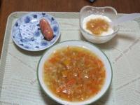 1/26 朝食 ウィンナー、ベビーチーズ、豆乳ヨーグルト、ファイトケミカルスープ、コーヒー