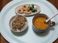1/27 昼食 チキンナゲット、納豆ご飯、ファイトケミカルスープ