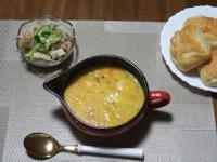 1/27 夕食 ファイトケミカルホワイトシチュー、シーフードサラダ、塩バターパン