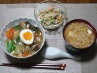 1/28 夕食 中華丼、きゅうりともやしとハムのサラダ、豆腐とえのきの味噌汁
