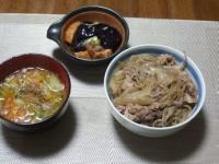 1/31 夕食 牛丼、ナスと油麩の煮びたし、ファイトケミカルスープ