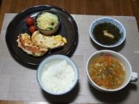 2/1 夕食 ささみのピカタ、ブロッコリーとしめじのチーズ焼き、ミニトマト、アカモク、ファイトケミカルスープ、ご飯