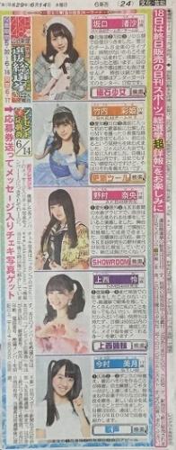 AKB48 49thシングル選抜総選挙 日刊スポーツ連載 2017年6月14日