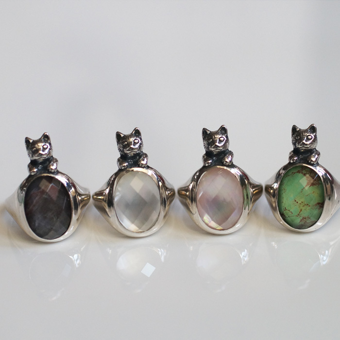水晶といろどり猫リングは7号から♪