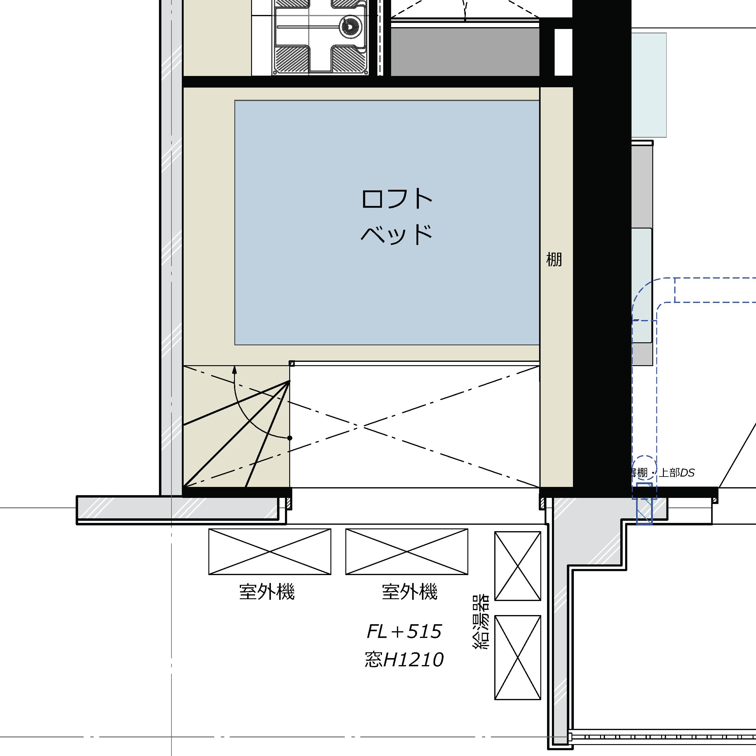 ベッドルーム当初案平面図