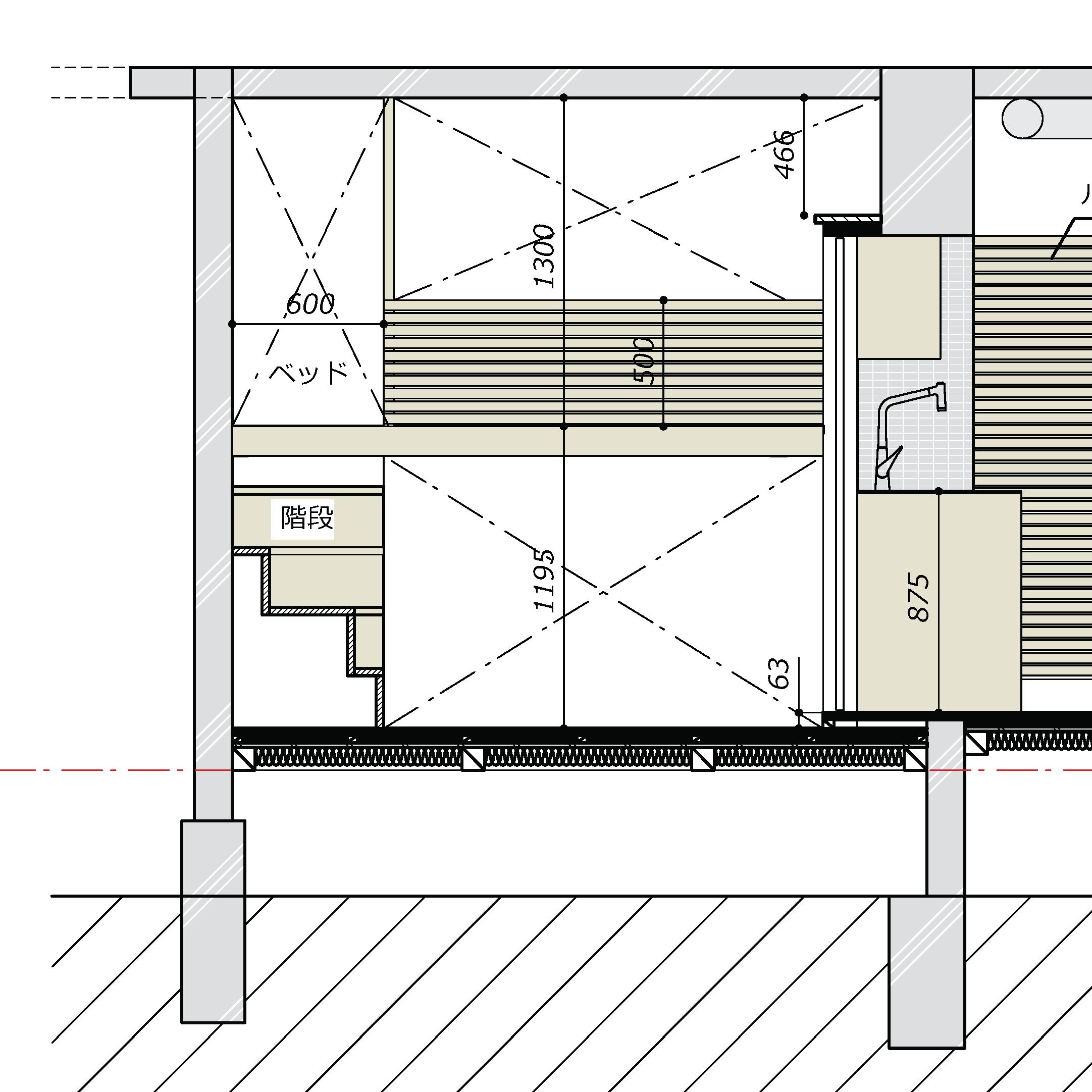ベッドルーム当初案立面図
