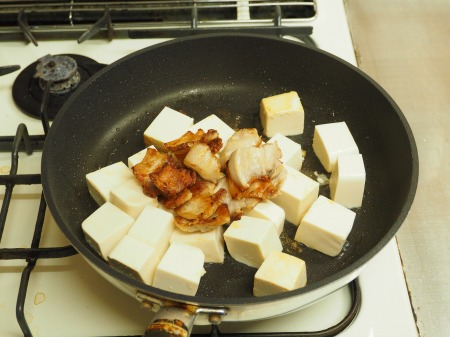 豚バラと豆腐のねぎ味噌炒め042