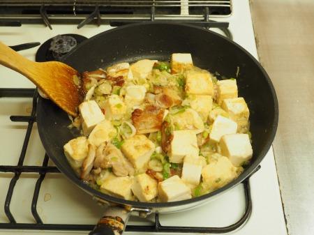 豚バラと豆腐のねぎ味噌炒め047