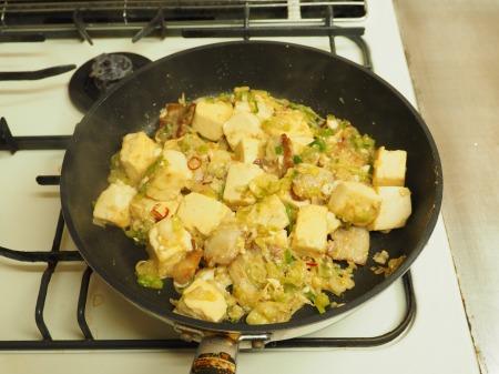 豚バラと豆腐のねぎ味噌炒め049
