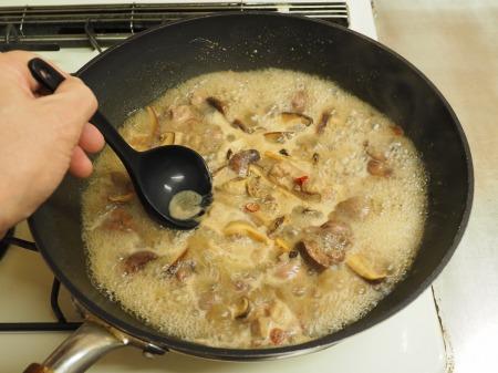 鶏もも肉と鶏肝の生姜煮込み059