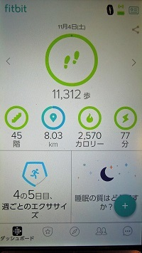fitbitスマホでチェック(歩数)