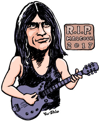 Malcolm Young AC/DC caricature likeness