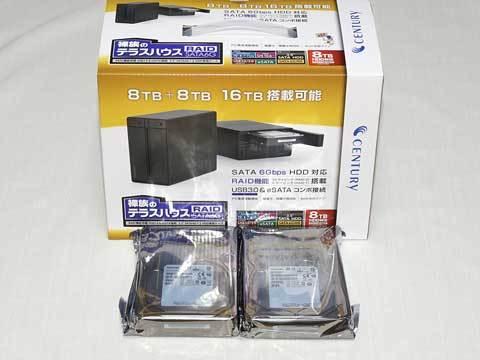 『裸族のテラスハウス RAID SATA6G CRTS35EU3RS6G』 『MD05ACA800』×2