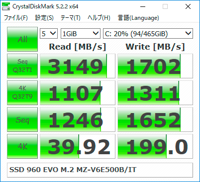 【CrystalDiskMark 5.2.2】SSD 960 EVO M.2 MZ-V6E500B/IT