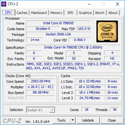 【CPU-Z】Core i9 7980XE Extreme Edition