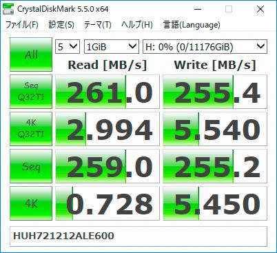 【CrystalDiskMark 5.5.0】Ultrastar He12 HUH721212ALE600