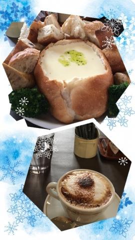 チーズフォンデュ&カフェラテ