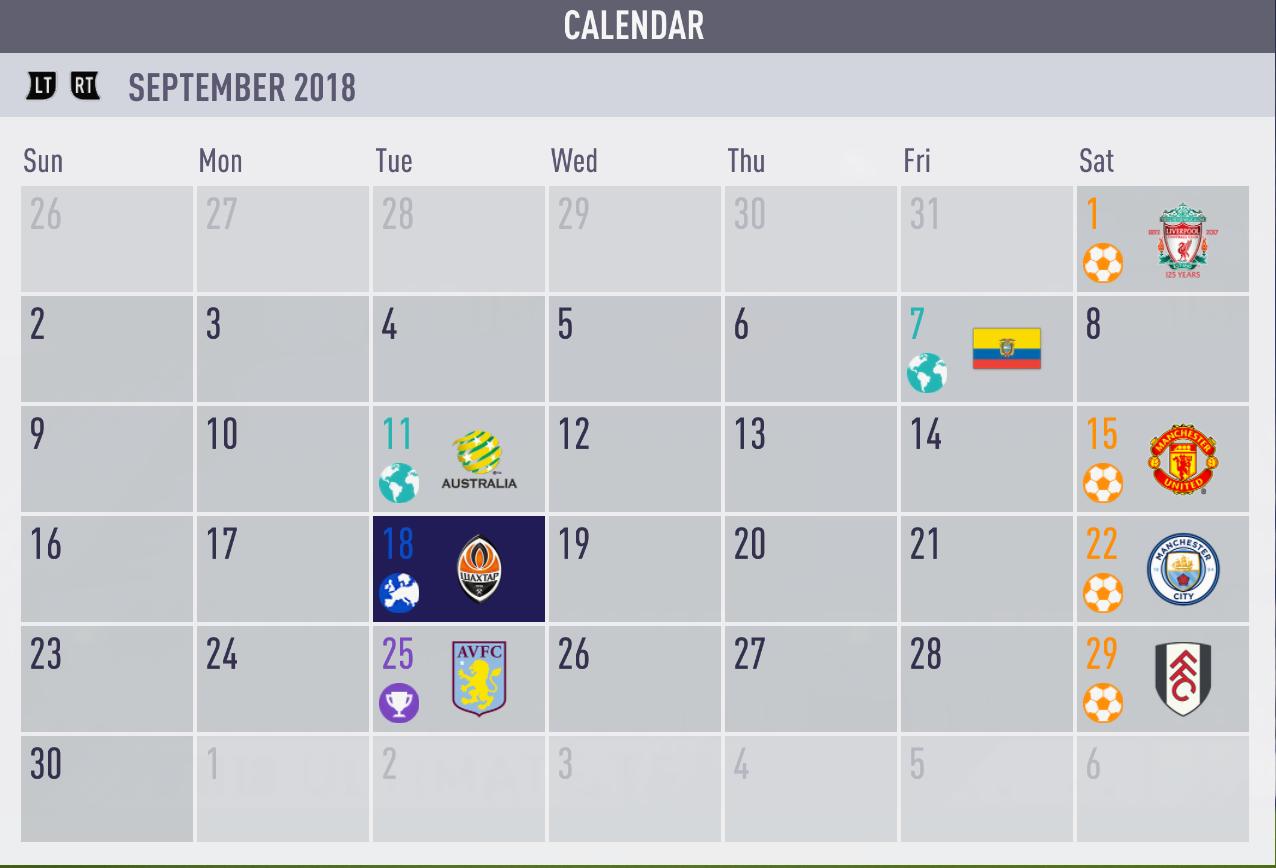 2018 9 月カレンダー