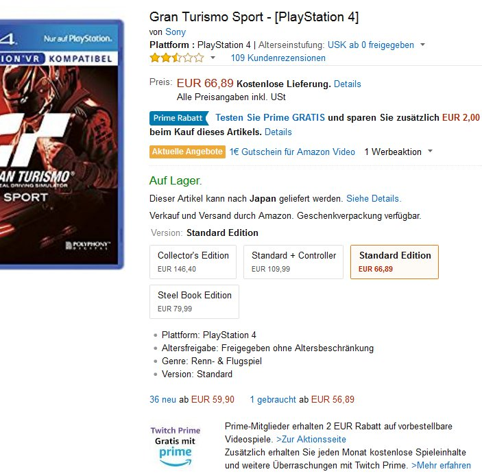 Gran Turismo Sport - [PlayStation 4] Amazon