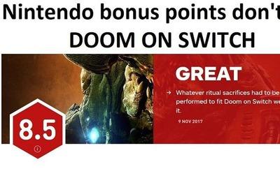 ニンテンドースイッチ『DOOM』がPS4XboxOnePCを上回る大絶賛!ゴキブリ「これは任天堂ボーナスポイントにちがいない!!」