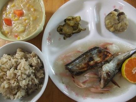 桜飯、サンマ、シチュー、栗金団