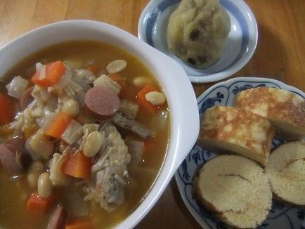 洋風スープ、伊達巻、栗金団