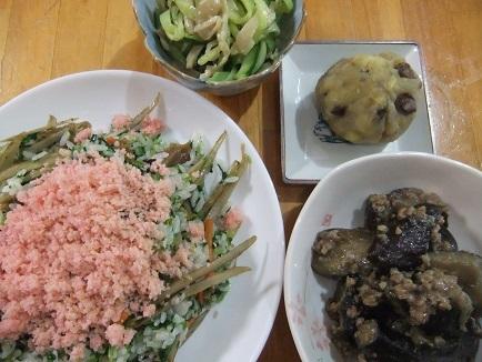 ばら寿司、ミンチ茄子、鳥皮サラダ