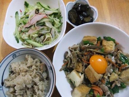 厚揚げ肉の卵とじ、酢物、桜飯