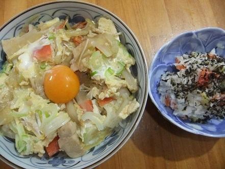 親子丼、サラダ