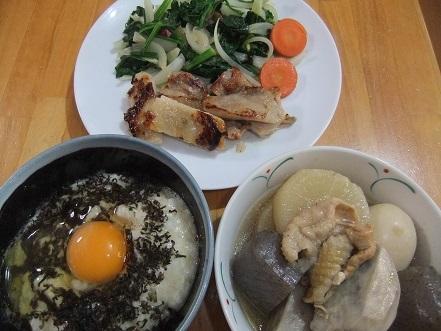 長芋丼、煮〆、鳥モモのソテー