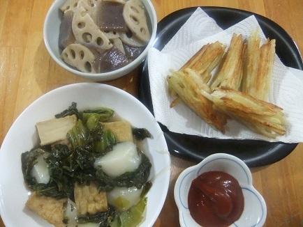 ミノムシ揚げ焼き、高菜餅