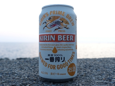 海岸でビール