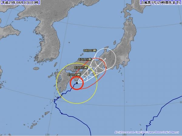 台風5号予想進路