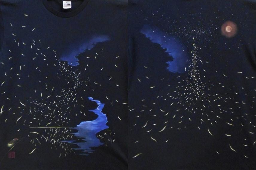 ほたる火の道 手描きTシャツ