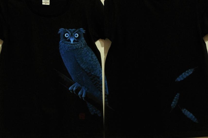 手描きTシャツ アメリカワシミミズク