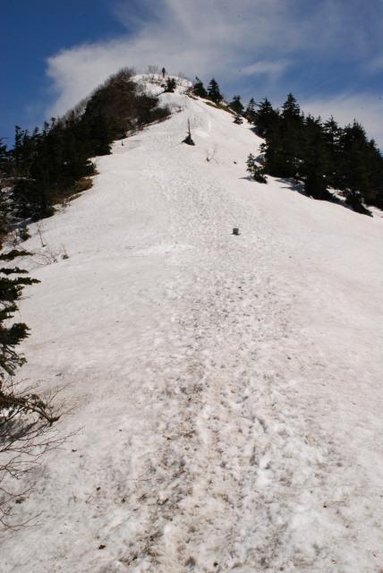 四阿山の山頂へ_雪の登山道を一直線