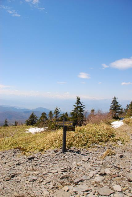 根子岳から小根子岳への分岐の標識
